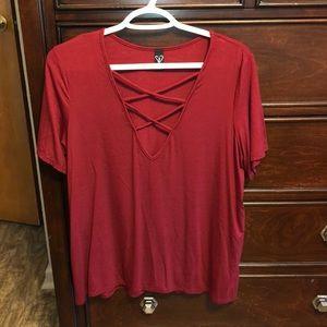 Red Shirt w/ Deep V Neckline